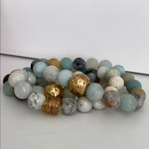 Natural Stone with gold accent bracelet set